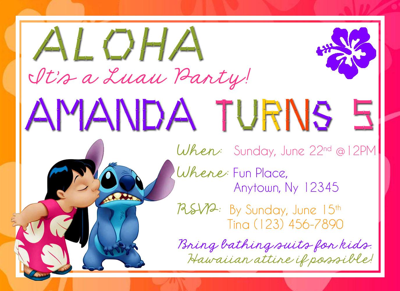 LuauLilo and Stitch Birthday Invites