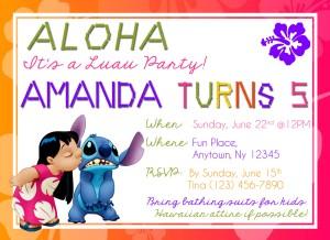 Luau Birthday Invites